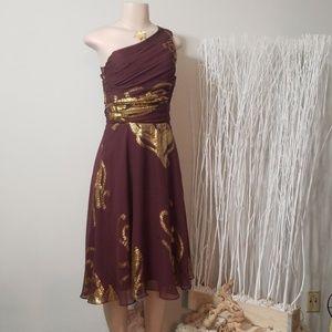 LIKE NEW! BANANA REPUBLIC GOLD LEAF DRESS!